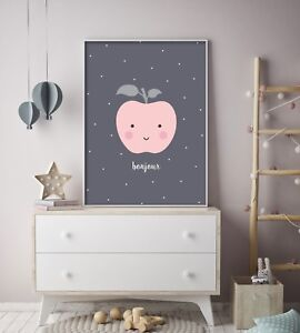 Details About Bonjour Peach Nursery Print Baby Room Wall Art Kids Bedroom Fruit