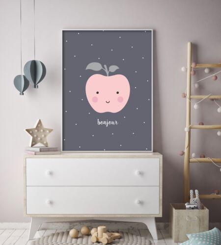 Bonjour Peach Baby Room Nursery Print Wall Art Fruit Kids Bedroom