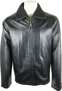 hf Double véritable Veste cuir Unicorn Classic Zipper Manteau Man en noir vfwqUvd