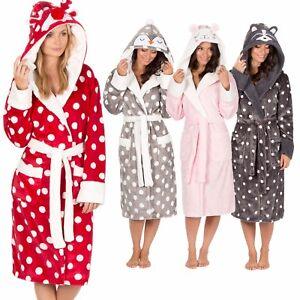 Ladies Womens Animal Hooded Robe Dressing Gown Winter Warm Christmas ... 7d5a4ced5