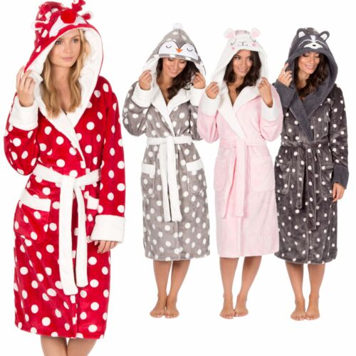 Ladies Womens Animal Hooded Robe Dressing Gown Winter Warm Christmas ...
