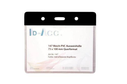 25 Stück PVC-Ausweishüllen mit schwarzer Kopfkante