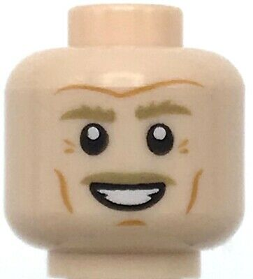 Lego New Medium Dark Flesh Minifigure Head Dual Sided Black Moustache and Goatee