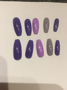 Set Of Painted Purple Lavender Gray Glitter Long Coffin Nails Ebay