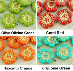 20pcs Opaque Flat Coin Round Flower Czech Glass Anemone Flower Sun Focal Pend...