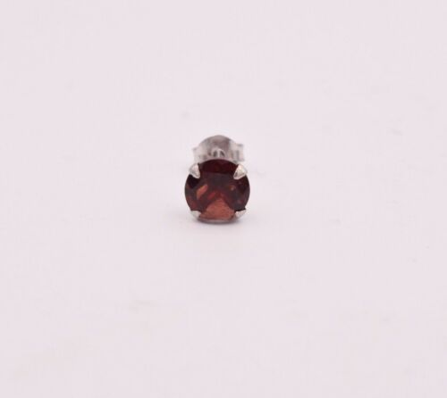 Round Genuine Red Garnet 925 Sterling Silver Stud Earrings All sizes 4mm to 7mm