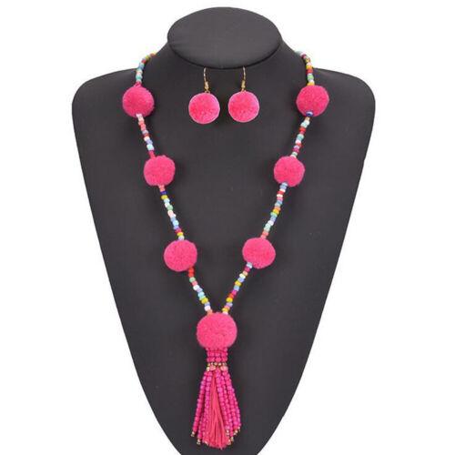 Women Fashion Bohemian Beads Pendant Choker Bib Necklace Chunk Statement Jewelry