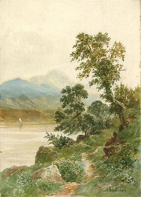 John W. Hepple - Fein Aquarell, Gebirgslandschaft