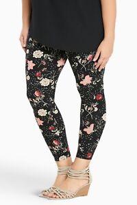 4e7240c677b Torrid Plus Size 0 0X Large Black Floral Print Full Length Leggings ...