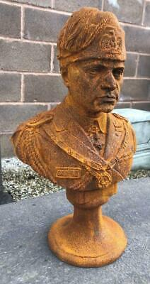 WWII Heavy 14kg WW2 32cm High Large Cast Iron Bust of Benito Mussolini