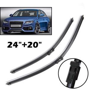 "Car Aero Flat Windscreen Wiper Blades Set 24/"" 20/"" Ford VW Peugeot BMW Audi"