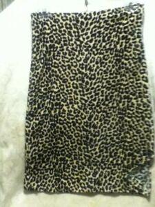 VTG-Disco-80s-90s-Monteau-Leopard-Velvet-Midi-Pencil-Skirt-Stretch-Slit-26-34-034-S