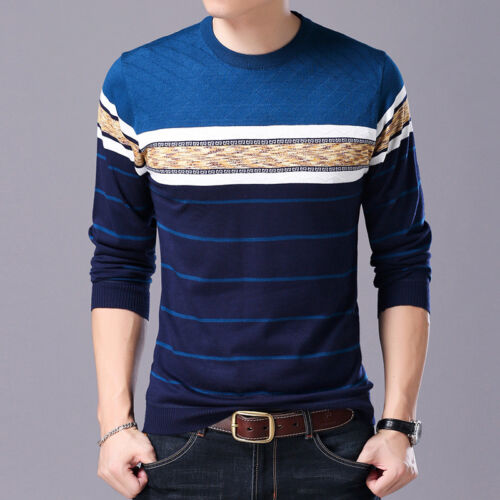 Men Sweater O-Neck Casual Striped Sweaters Winter Brand Mens Pullovers
