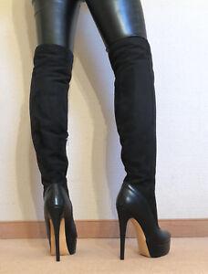 Gr-44-TOP-Exklusiv-Sexy-Damen-Schuhe-Overknee-Stiletto-Stiefel-Maenner-Boots-D2