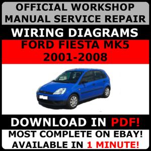 official workshop service repair manual for ford fiesta mk5 2001 rh ebay co uk ford fiesta mk5 repair manual pdf ford fiesta mk5 workshop manual pdf