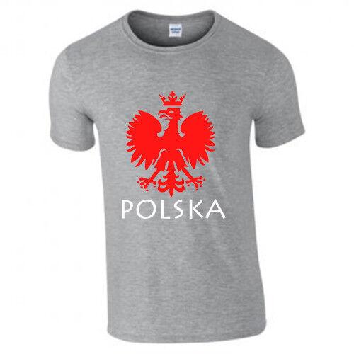 Camiseta Adultos Estampado de Polonia Polska Eagle polaco de la Copa del Mundo de manga corta Camiseta