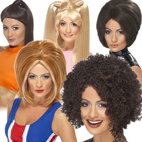 Ladies Posh Ginger Baby Scary Sporty Spice Girls Fancy Dress Costume Outfit Wig
