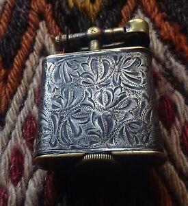 Antique-1910-039-s-Rare-Handcarved-Handmade-Sterling-Silver-Liftarm-Lighter-Briquet