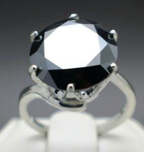 10.08cts 13.78mm Real Natural Black Diamond Ring AAA Grade & $5240 Value'