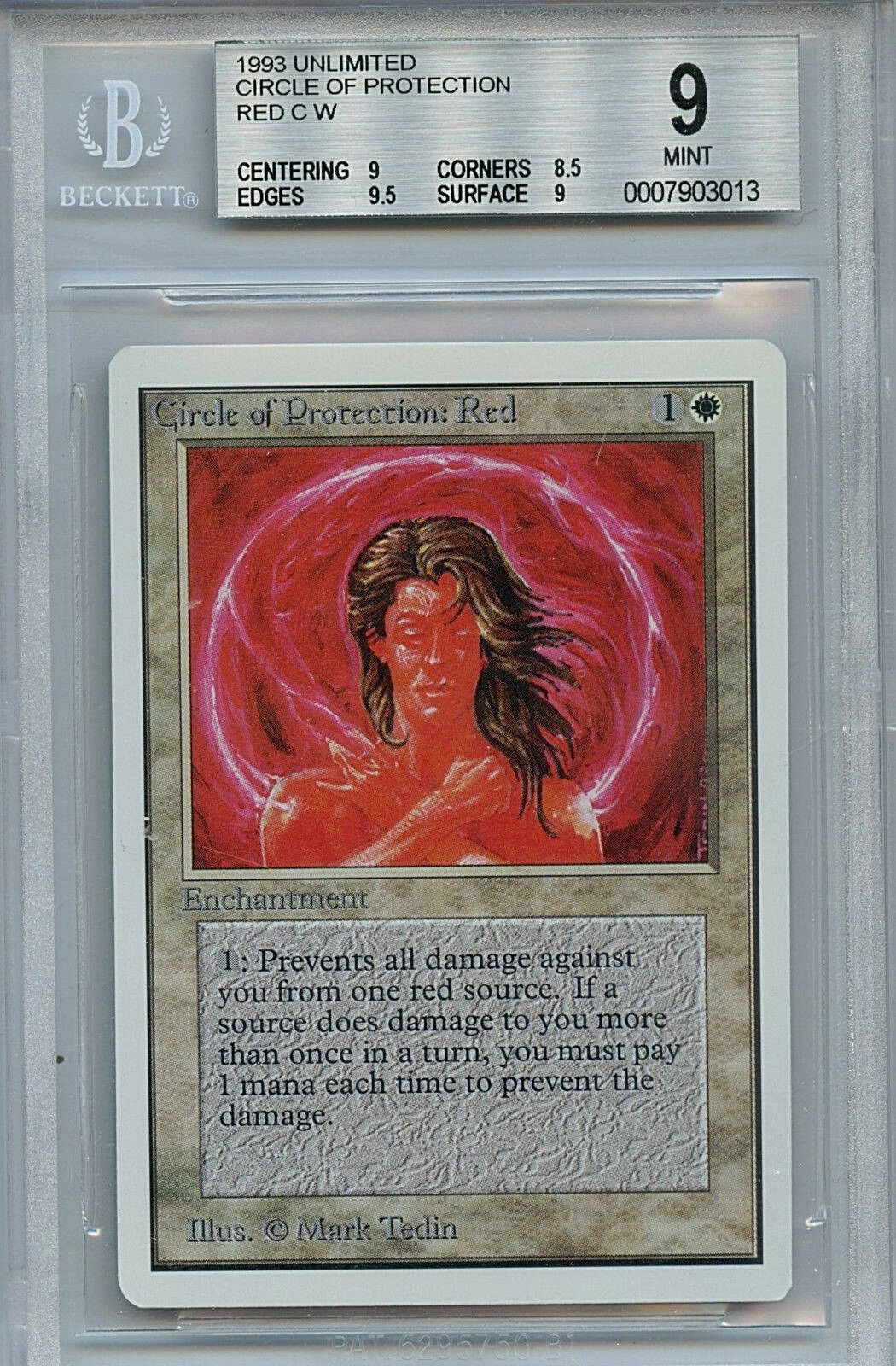 MTG Unlimited Circle of Predection Red BGS 9.0 (9) Mint WOTC Card 3013