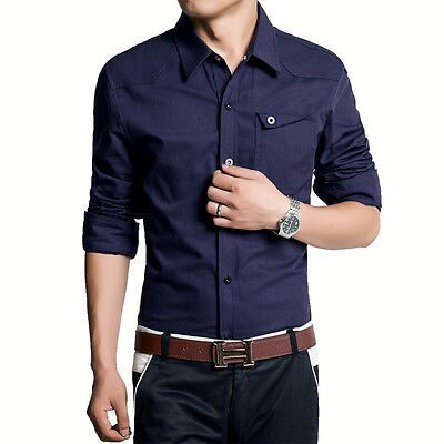 6173 New Men's Casual Cotton Long Sleeve Slim Jeans Dress Shirts Top Fashion