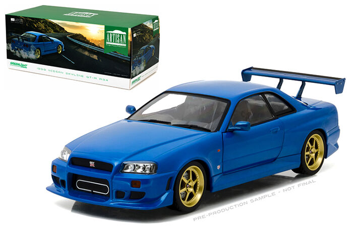 vertlight Nissan Skyline R34 Personnalisé 1999 Bleu 19032 1 18