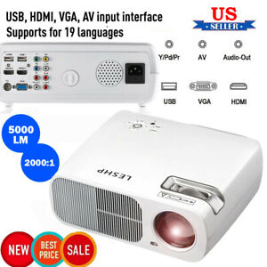 5000 Lumens LED Projector 1080P Home Office HDMI USB For Laptop//Smartphone US