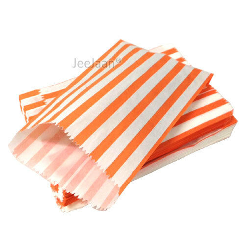 """50 Color /& White Candy Stripe Paper Sweet Bags Wedding 7/"""" X 9/"""" Pick /'n/' Mix Bag"""