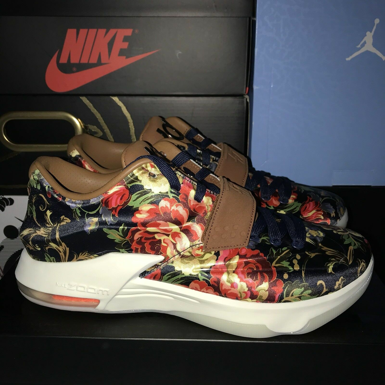 302f719549 Nike KD VII EXT Floral Midnight Navy Black Hazelnut 400 Size 7.5 KD7 726438  QS ntalgh85-Athletic Shoes