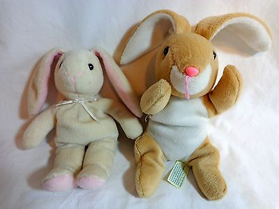 "BUNNY RABBIT Beanbag Plush 12"" Lot of 2 Russ LOPPY and DanDee Collectors Choice"