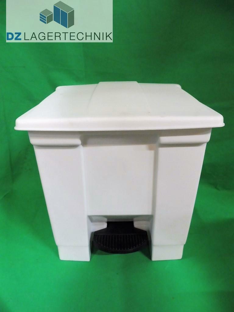 Tretmülleimer weiß Polyethylen Abfalleimer Abfallbehälter Mülleimer Tonne 30 L.