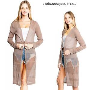 RETRO-BOHO-Open-Front-Brown-Knit-Midi-Long-Duster-Sweater-Cardigan-Top-S-M-L-XL