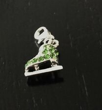 GREEN & SILVER ICE SKATE  WITH GREEN RHINESTONES CLIP ON CHARM-3D-SILVER PLATE