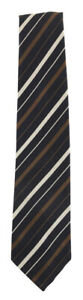 "Finamore Napoli Midnight Navy Blue Striped Silk Tie - 3.25"" x 58"" - (637)"