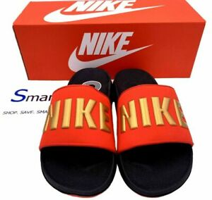nike sandals red and gold