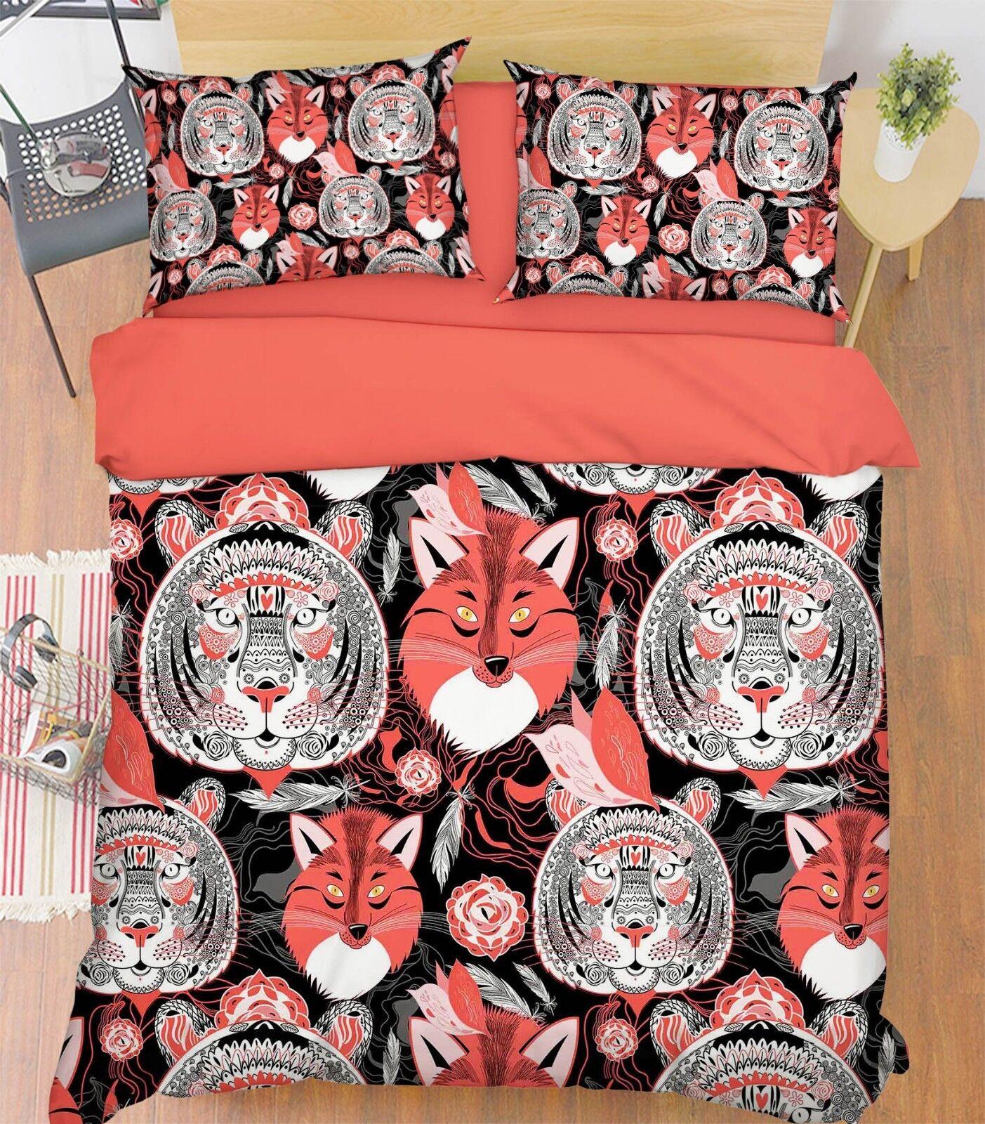 3D Doodle Tiger Fox 8 Bed Pillowcases Quilt Duvet Cover Set Single Queen King CA