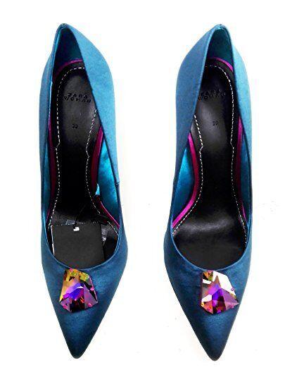 Zara azulish Detail verde High Heel Satin zapatos With Swarovski Detail azulish Talla 39 858c4b