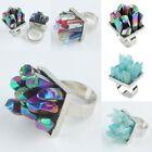 Blue Rock Rainbow Aura Quartz Crystal Titanium Gemstone Adjustable Cluster Ring