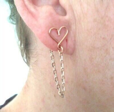 Gold Front to Back Chain Earrings Stud Ear Posts Drop Simple Plain Minimalist UK
