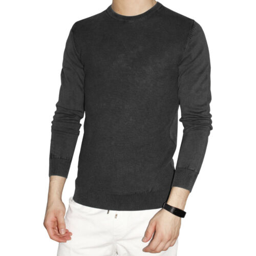 Men/'s Sweater Sweater Light Long Sleeve Roundneck Pullover Cotton Black Blue
