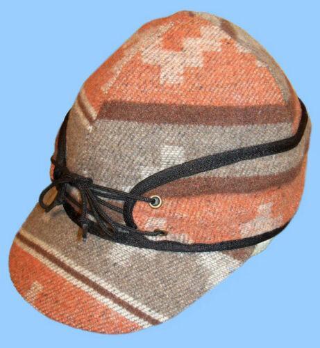 NEW MENS NAVAJO ORANGE RAILROAD HAT CAP WITH FLAPS Wool Blend 23.5 inch