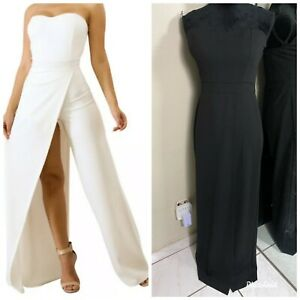 Mind-Code-Unique-Strapless-Wide-Leg-Evening-Jumpsuit-Maxi-Dress-Womens-Large