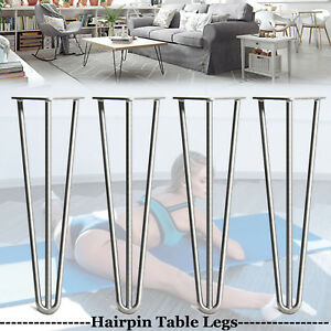 4x Hairpin Steel Legs Hair Pin Legs Furniture Desk Bench Chair Bare Steel// Black