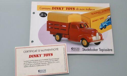 DINKY TOYS ATLAS 1//43 Fiche Fascicule Certificat réf 25L Studebaker Tapissière