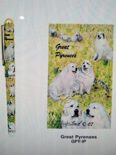 in Gift Box by Ruth Maystead New Great Pyrenees Dog Designer Pen Set 2 Pens