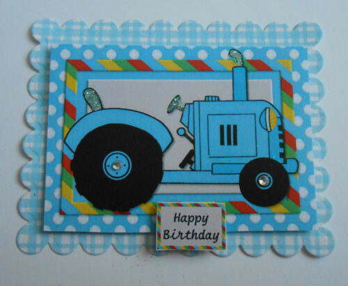 Pack 2 Azul Tractor Feliz Cumpleaños Adornos Para Cartas O Manualidades