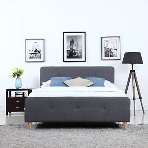 Image Is Loading Mid Century Modern Linen Fabric Low Profile Bed