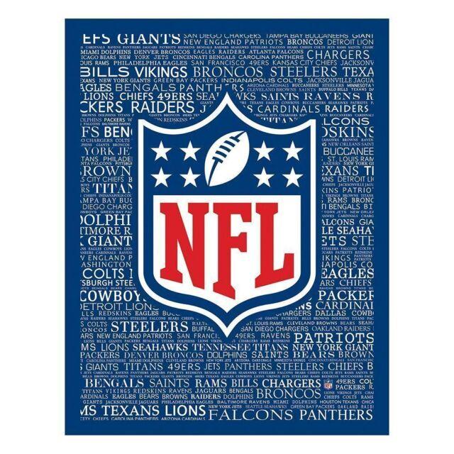 NFL Shield Typography Canvas Wall Art Print Football Man Cave | eBay