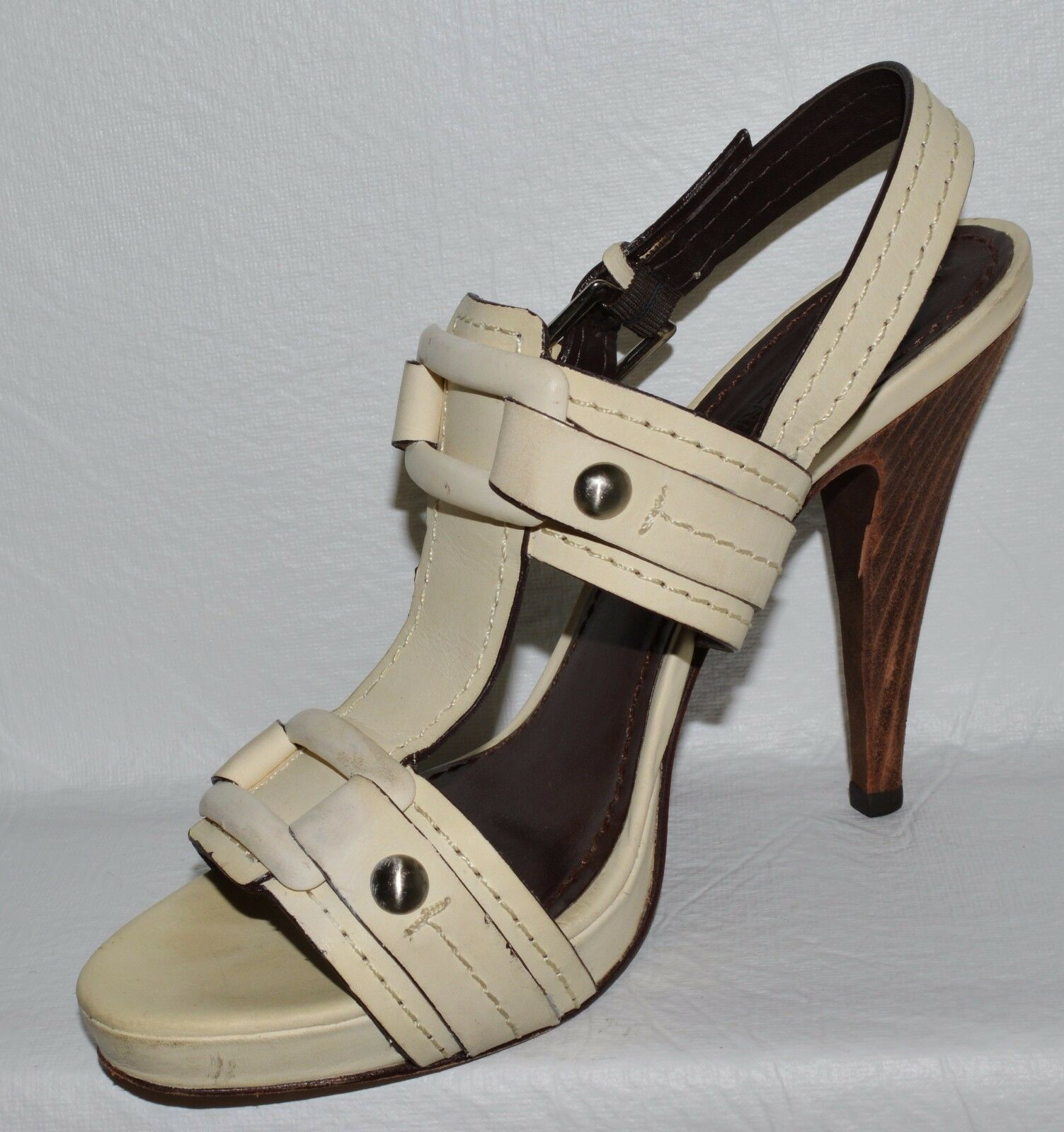 BCBG MAX AZRIA SZ 10 B OFF WHITE LEATHER PLATFORM PLATFORM PLATFORM SANDALS HEELS 45196a