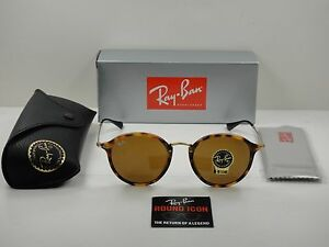 697a27f31d2 RAY-BAN ROUND FLECK SUNGLASSES RB2447 1160 TORTOISE   GOLD BROWN B ...